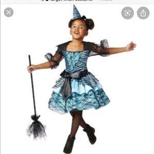 Girls Witch Halloween Costume Blue & Black Size L